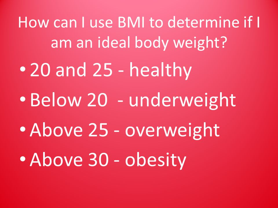 How can I use BMI to determine if I am an ideal body weight.