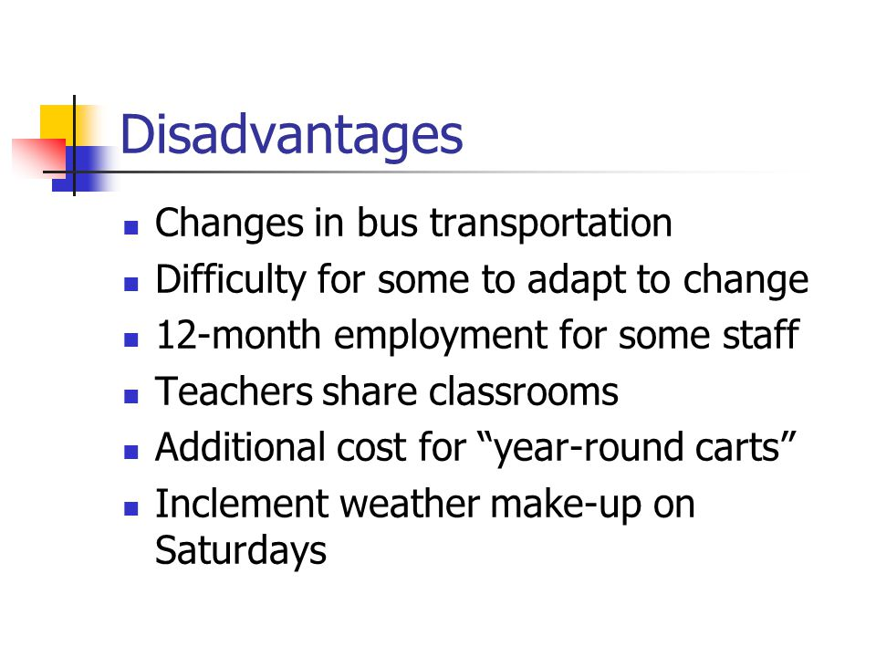 Disadvantages Changes in bus transportation Difficulty for some to adapt to change 12-month employment for some staff Teachers share classrooms Additional cost for year-round carts Inclement weather make-up on Saturdays