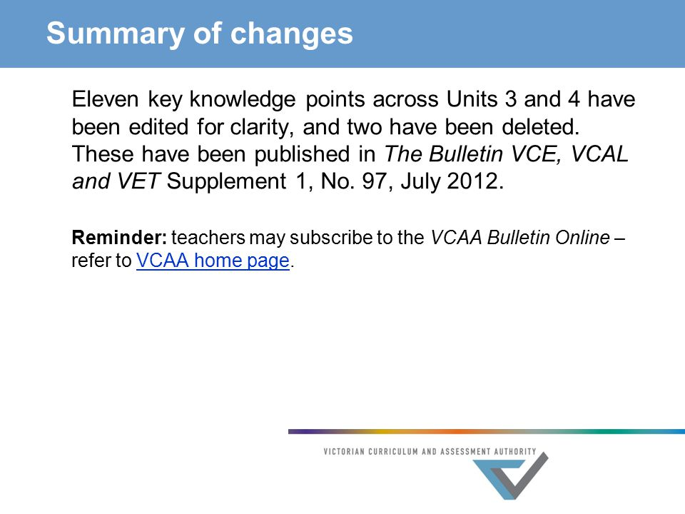 Summary of changes Eleven key knowledge points across Units 3 and 4 have been edited for clarity, and two have been deleted.