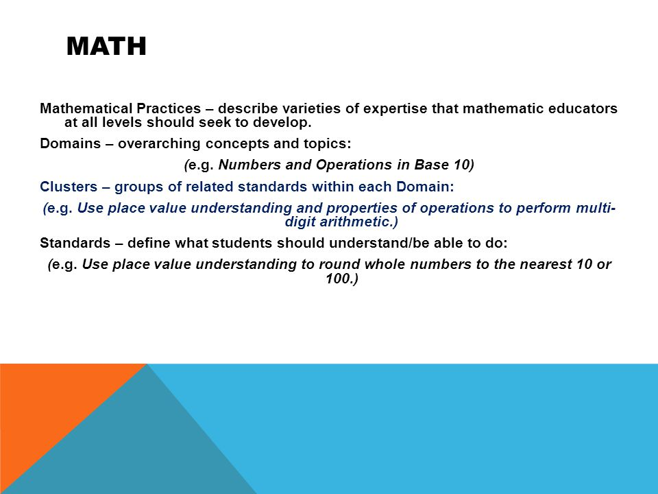 MATH Mathematical Practices – describe varieties of expertise that mathematic educators at all levels should seek to develop.