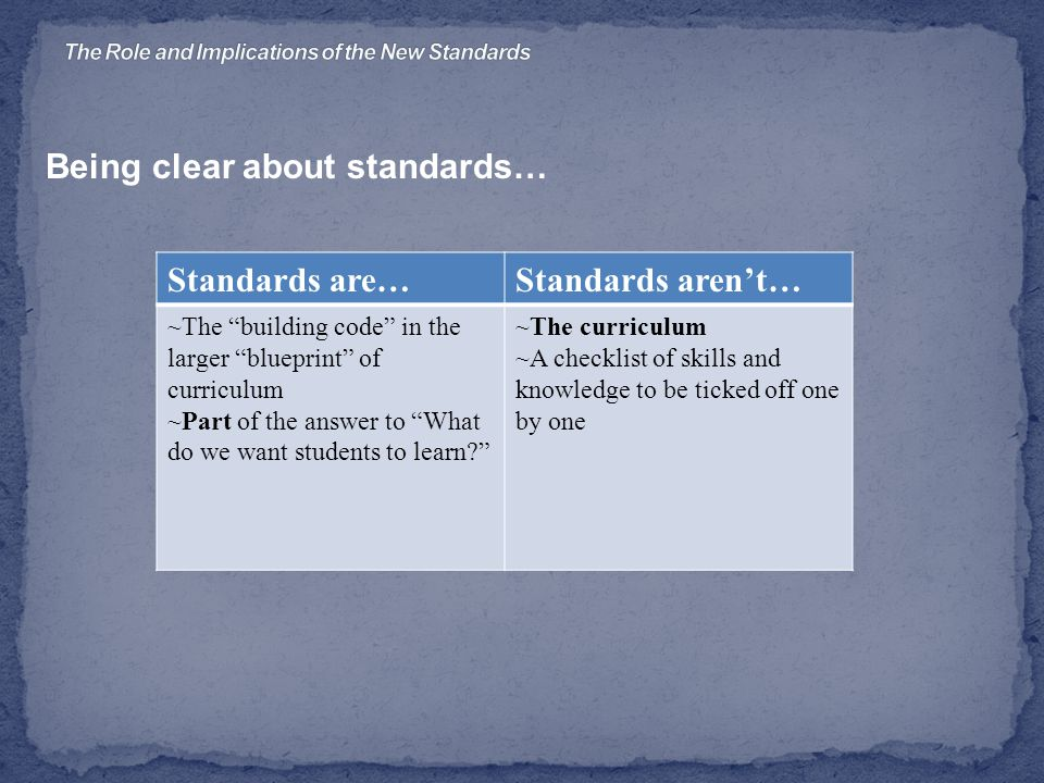 Being clear about standards… Standards are…Standards aren't… ~The building code in the larger blueprint of curriculum ~Part of the answer to What do we want students to learn ~The curriculum ~A checklist of skills and knowledge to be ticked off one by one