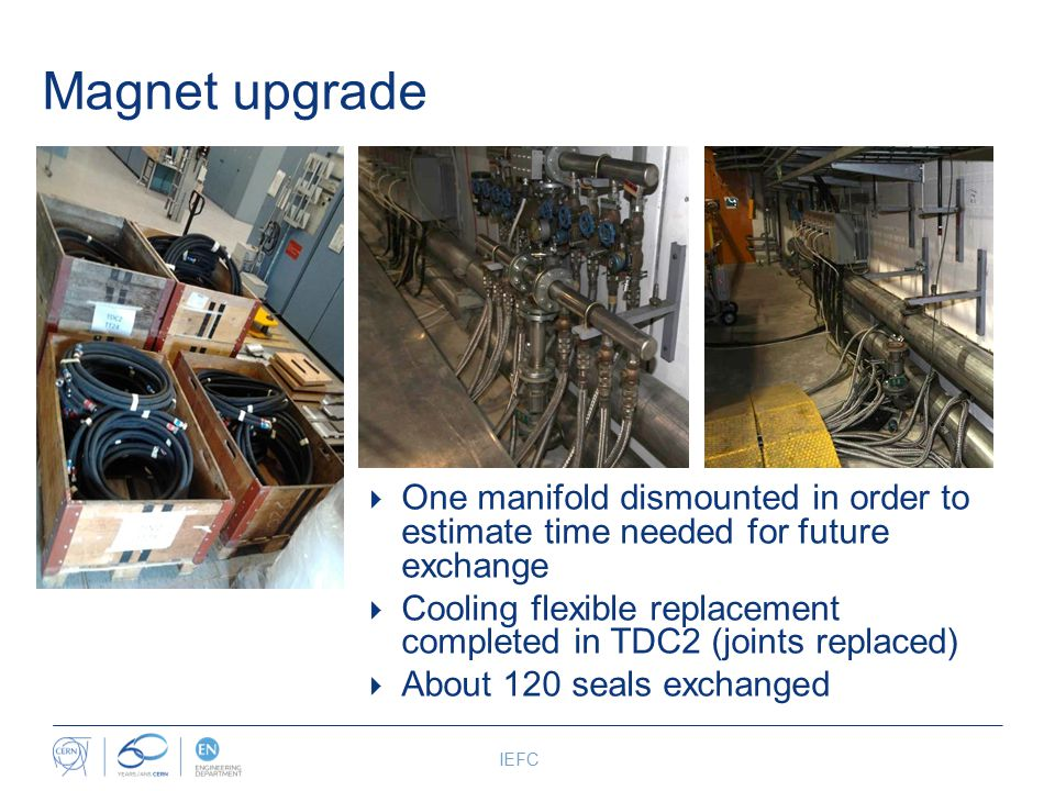 Magnet upgrade IEFC  One manifold dismounted in order to estimate time needed for future exchange  Cooling flexible replacement completed in TDC2 (joints replaced)  About 120 seals exchanged