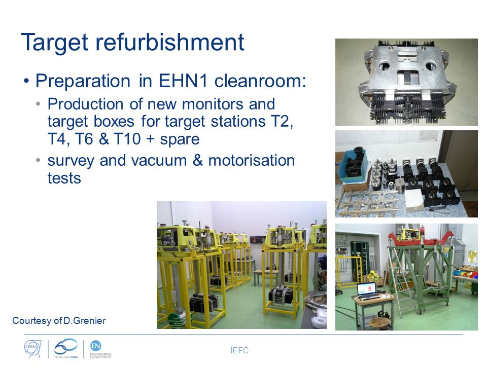 Target refurbishment Preparation in EHN1 cleanroom: Production of new monitors and target boxes for target stations T2, T4, T6 & T10 + spare survey and vacuum & motorisation tests IEFC Courtesy of D.Grenier