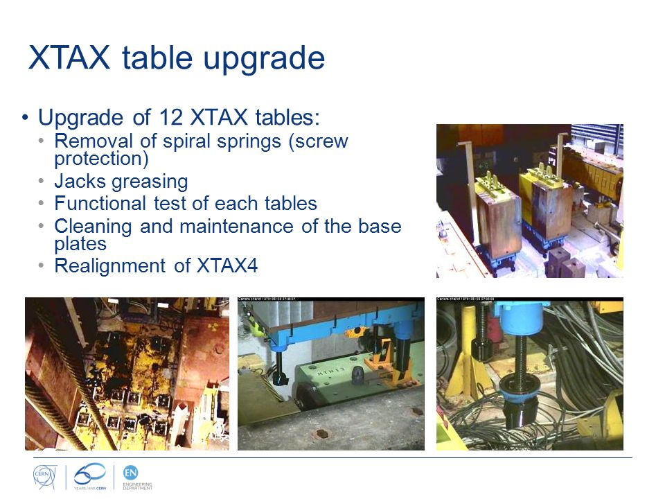 Upgrade of 12 XTAX tables: Removal of spiral springs (screw protection) Jacks greasing Functional test of each tables Cleaning and maintenance of the base plates Realignment of XTAX4 XTAX table upgrade