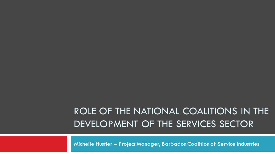 ROLE OF THE NATIONAL COALITIONS IN THE DEVELOPMENT OF THE SERVICES SECTOR Michelle Hustler – Project Manager, Barbados Coalition of Service Industries