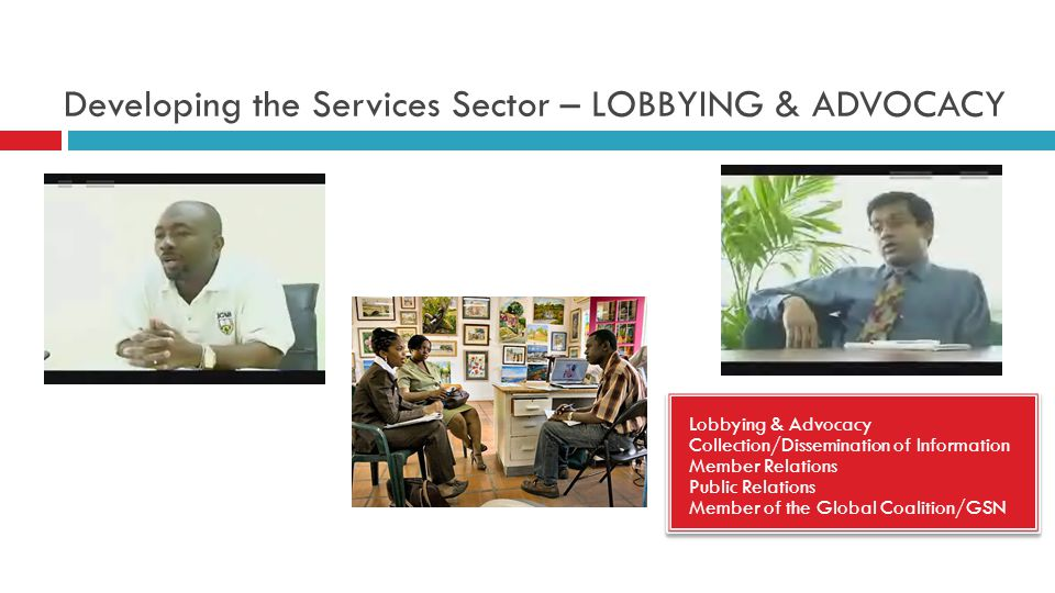 Developing the Services Sector – LOBBYING & ADVOCACY Lobbying & Advocacy Collection/Dissemination of Information Member Relations Public Relations Member of the Global Coalition/GSN Lobbying & Advocacy Collection/Dissemination of Information Member Relations Public Relations Member of the Global Coalition/GSN
