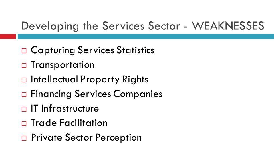 Developing the Services Sector - WEAKNESSES  Capturing Services Statistics  Transportation  Intellectual Property Rights  Financing Services Companies  IT Infrastructure  Trade Facilitation  Private Sector Perception