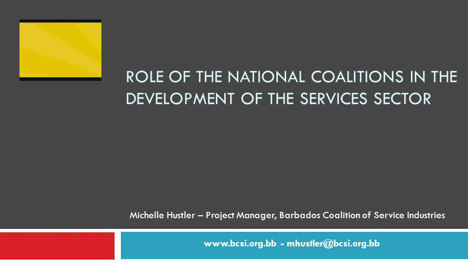 ROLE OF THE NATIONAL COALITIONS IN THE DEVELOPMENT OF THE SERVICES SECTOR Michelle Hustler – Project Manager, Barbados Coalition of Service Industries   -