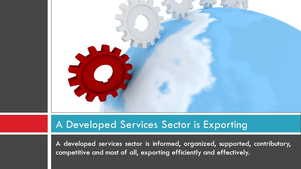 A developed services sector is informed, organized, supported, contributory, competitive and most of all, exporting efficiently and effectively.
