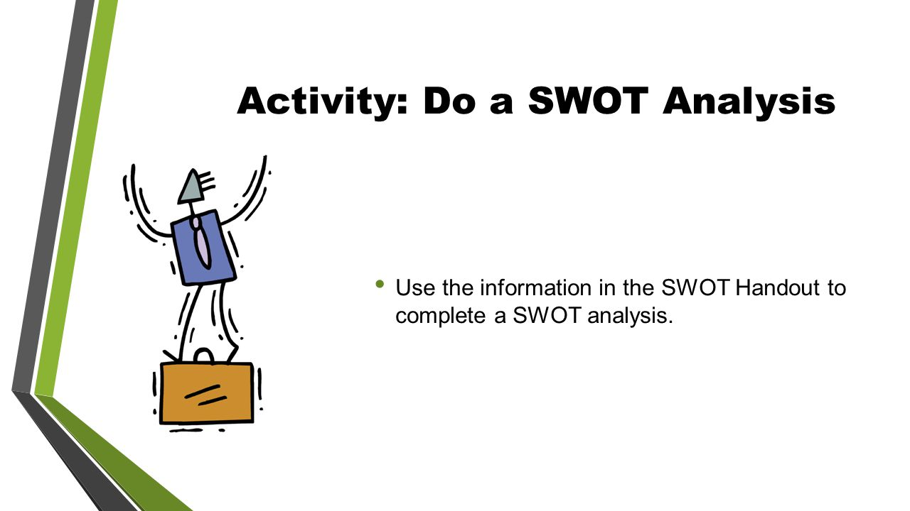 Activity: Do a SWOT Analysis Use the information in the SWOT Handout to complete a SWOT analysis.