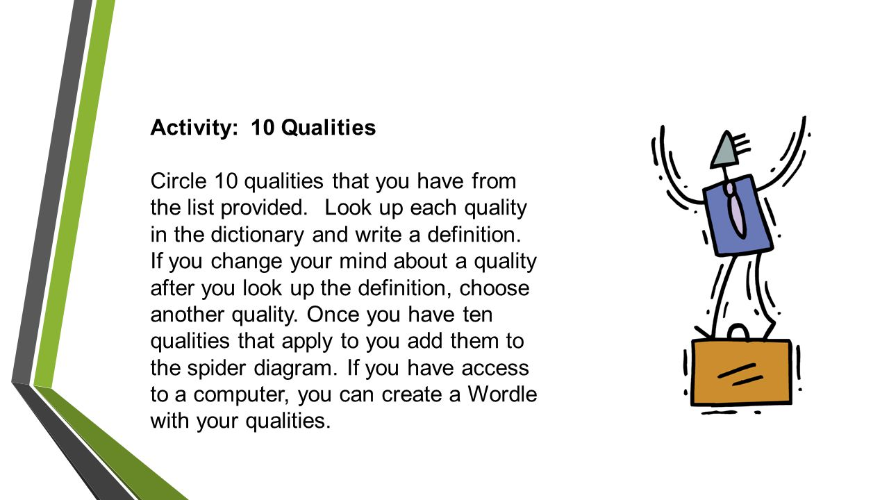 Activity: 10 Qualities Circle 10 qualities that you have from the list provided.