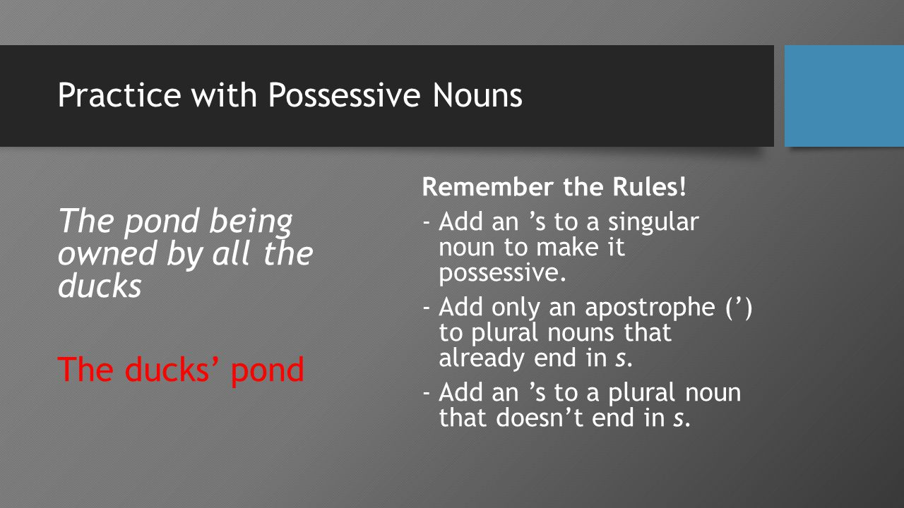 Practice with Possessive Nouns The pond being owned by all the ducks The ducks' pond Remember the Rules.