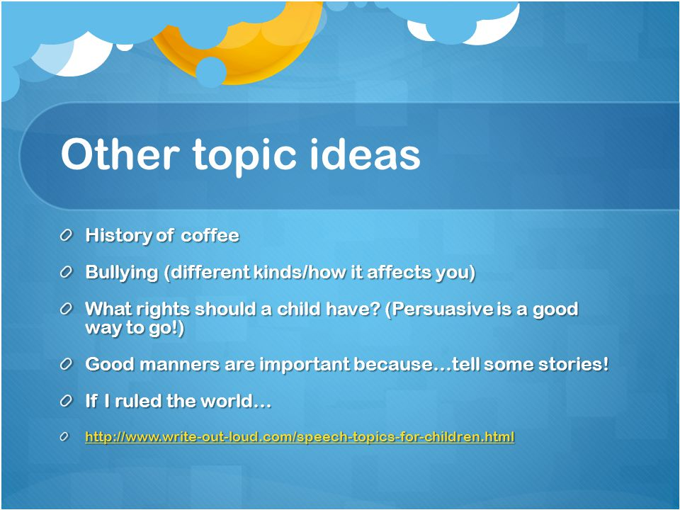 topic ideas for kids