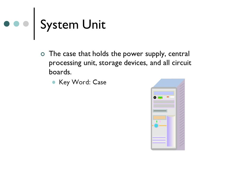 System Unit The case that holds the power supply, central processing unit, storage devices, and all circuit boards.