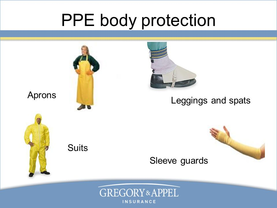 PPE body protection Aprons Sleeve guards Leggings and spats Suits