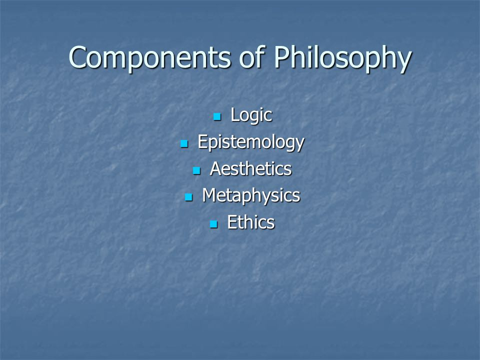Components of Philosophy Logic Logic Epistemology Epistemology Aesthetics Aesthetics Metaphysics Metaphysics Ethics Ethics