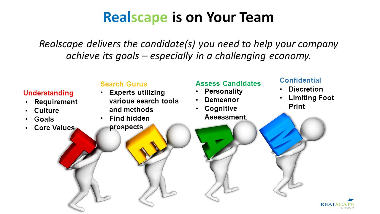 Realscape is on Your Team Realscape delivers the candidate(s) you need to help your company achieve its goals – especially in a challenging economy.