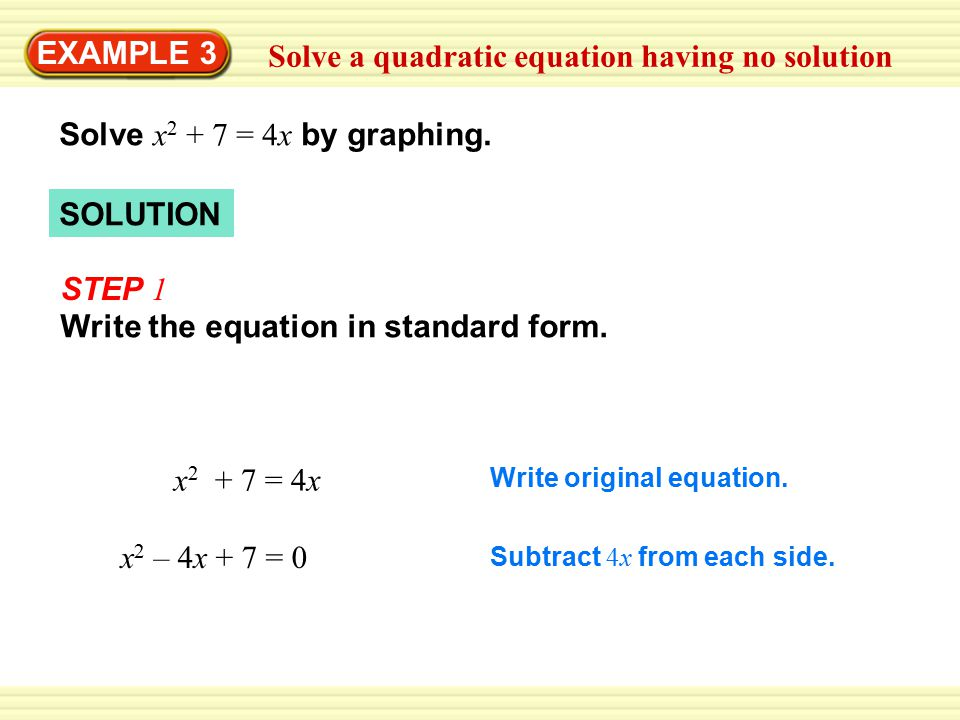 EXAMPLE 3 Solve a quadratic equation having no solution Solve x = 4x by graphing.