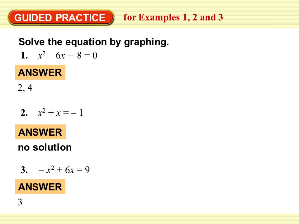 GUIDED PRACTICE for Examples 1, 2 and 3 Solve the equation by graphing.