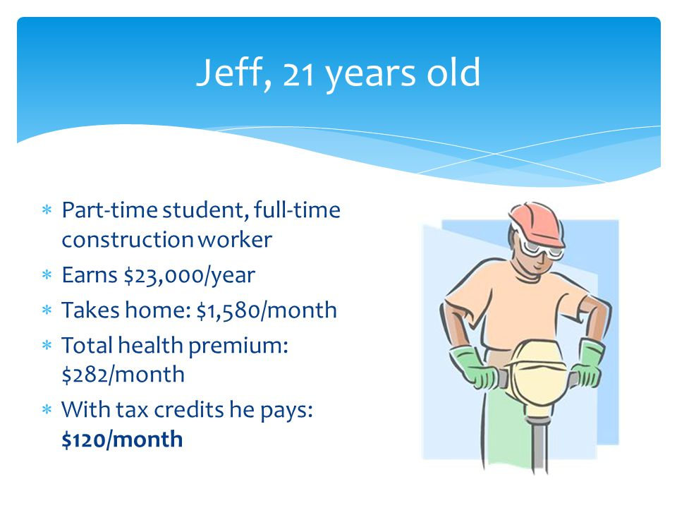 Jeff, 21 years old  Part-time student, full-time construction worker  Earns $23,000/year  Takes home: $1,580/month  Total health premium: $282/month  With tax credits he pays: $120/month