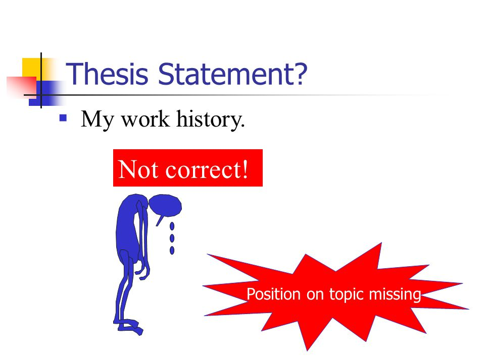 Thesis Statement  My work history. Position on topic missing Not correct!