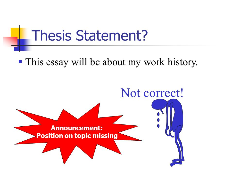 Announcement: Position on topic missing Thesis Statement.