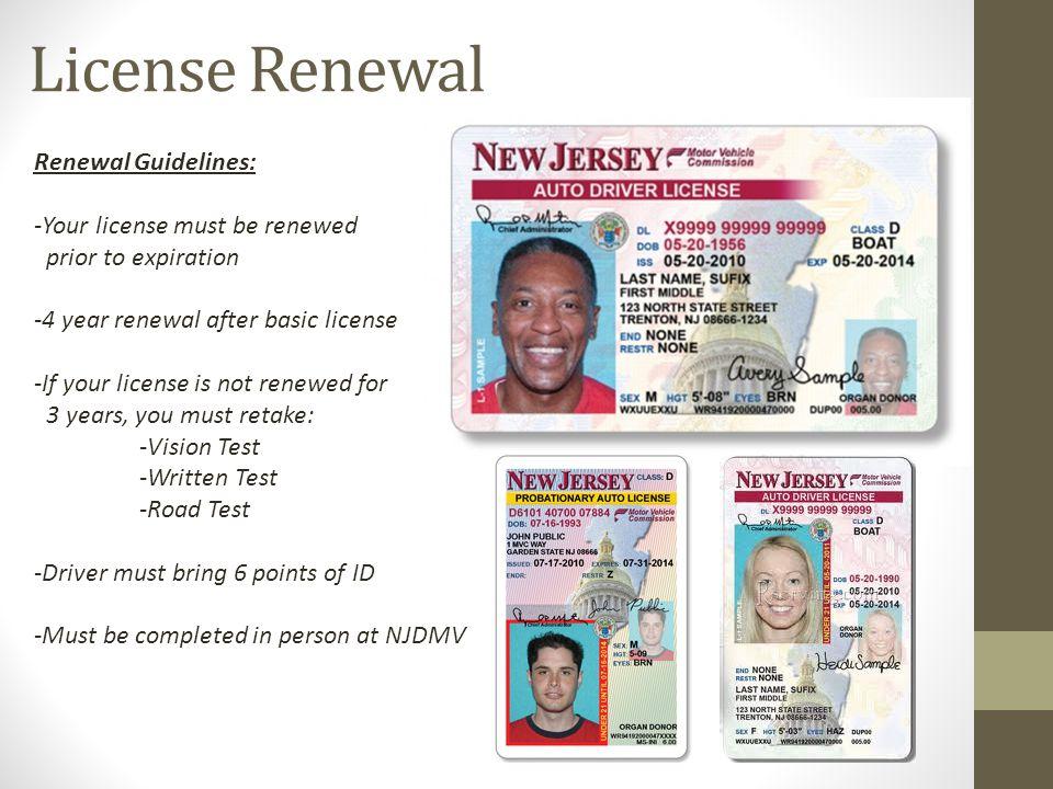 nj drivers license renewal points