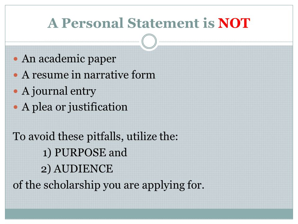 How to Write a Personal Statement SOS Workshop—Scholarship Writing ...
