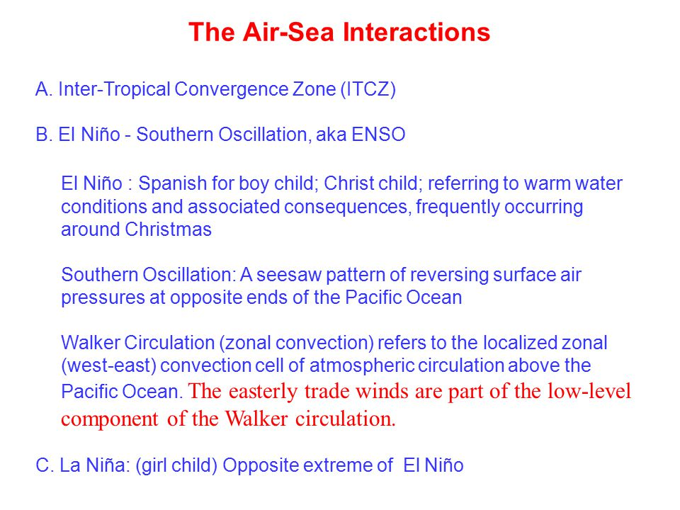 The Air-Sea Interactions A. Inter-Tropical Convergence Zone (ITCZ) B.