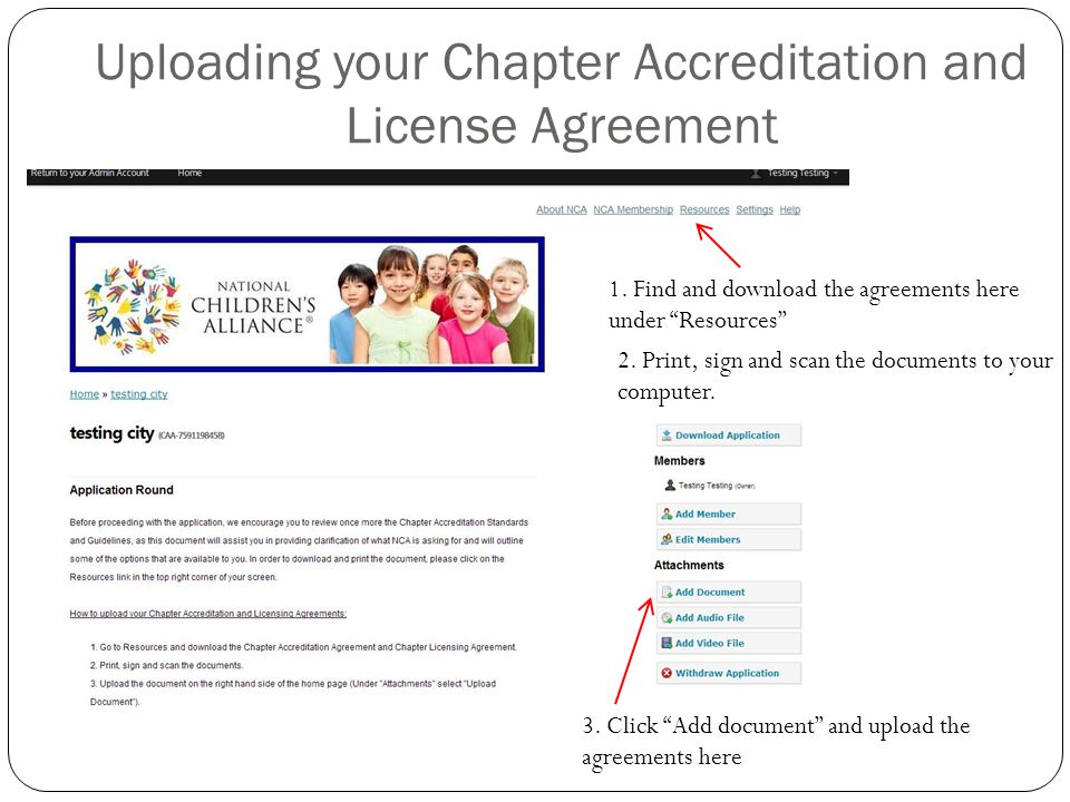 Uploading your Chapter Accreditation and License Agreement 1.
