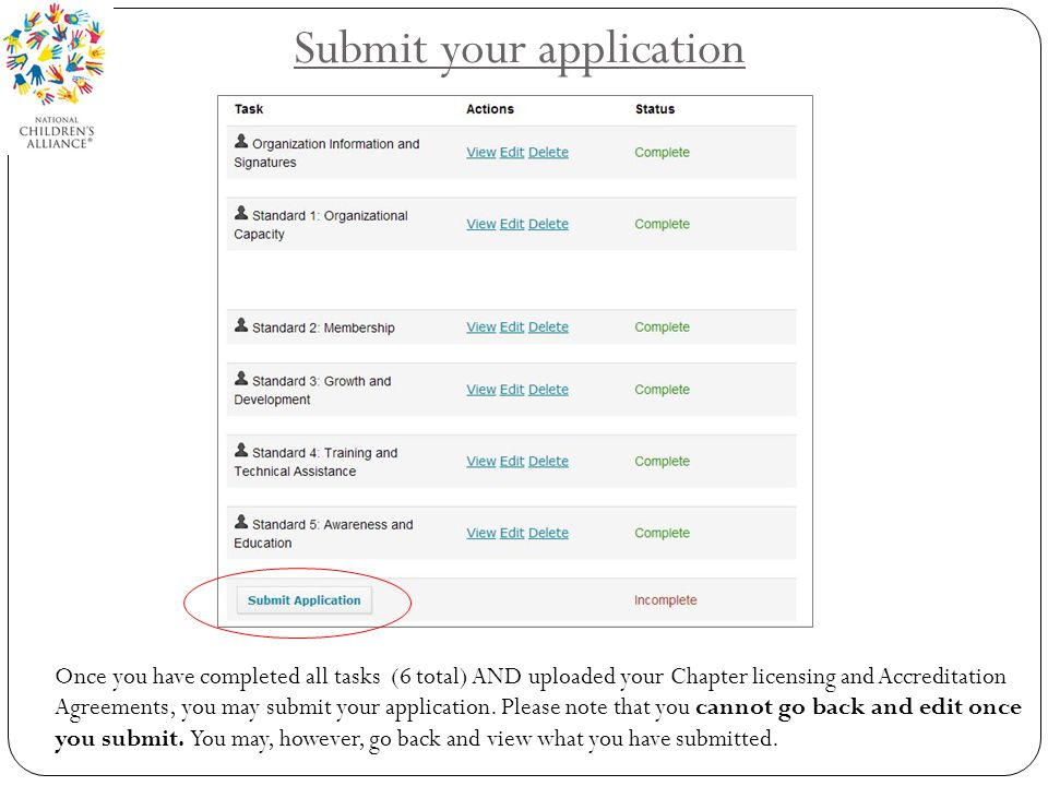 Submit your application Once you have completed all tasks (6 total) AND uploaded your Chapter licensing and Accreditation Agreements, you may submit your application.