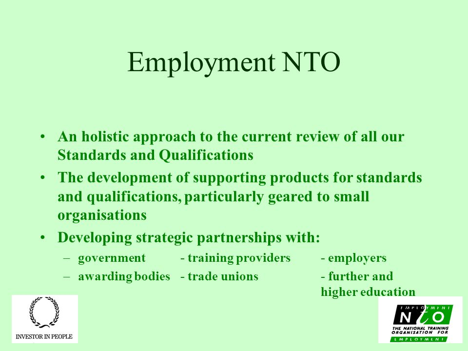 Employment NTO An holistic approach to the current review of all our Standards and Qualifications The development of supporting products for standards and qualifications, particularly geared to small organisations Developing strategic partnerships with: –government- training providers- employers –awarding bodies- trade unions- further and higher education