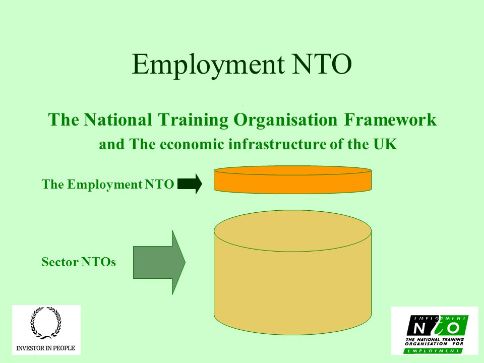 Employment NTO The National Training Organisation Framework and The economic infrastructure of the UK The Employment NTO Sector NTOs