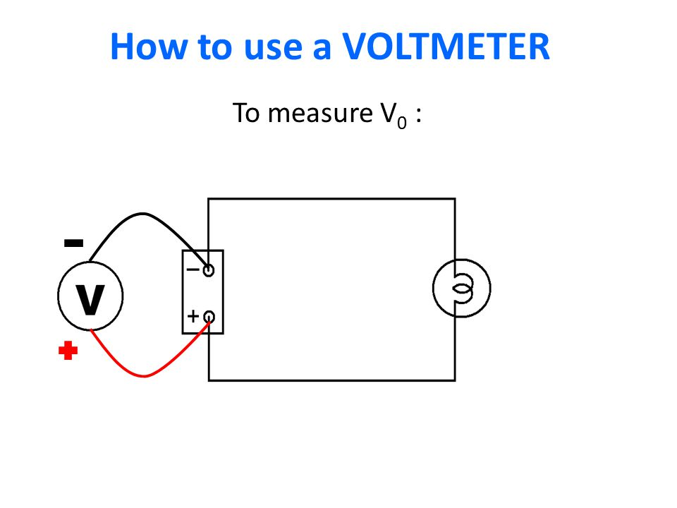 How to use a VOLTMETER I1I1 To measure V 0 :