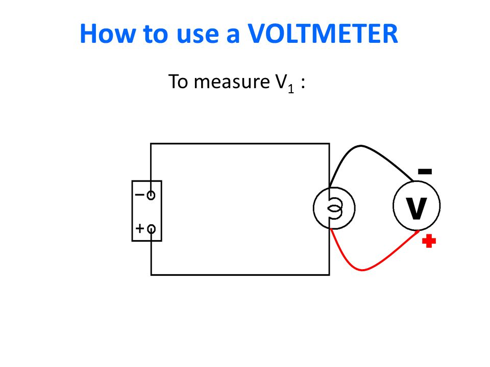 How to use a VOLTMETER I1I1 To measure V 1 :