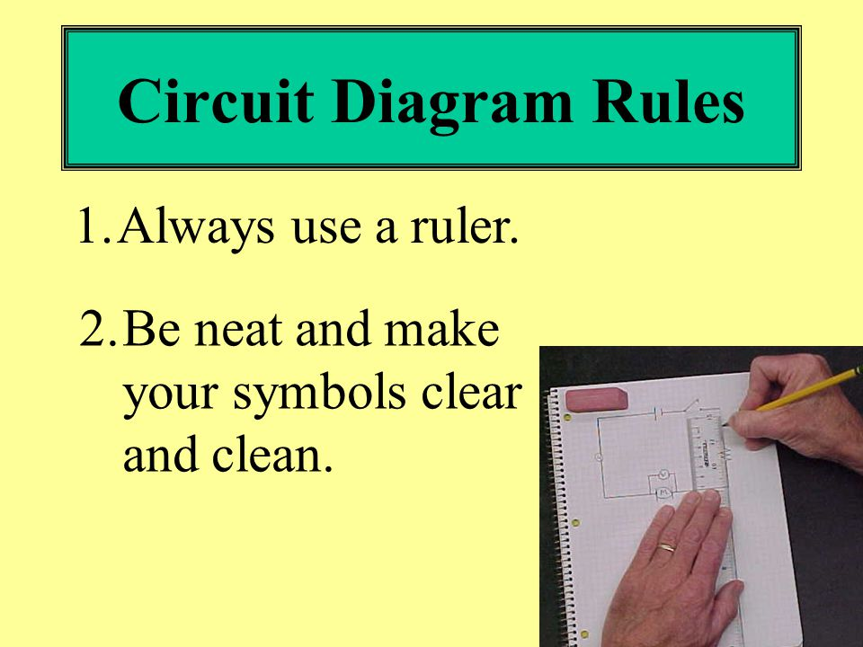 circuit diagram rules 1 always use a ruler 2 be neat and make your rh slideplayer com schematic diagram rules electrical circuit diagram rules