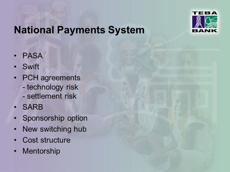Regulatory and legal issues National Payments System Card associations ICASA – telecommunications Banks Act Financial Intelligence Centre legislation (Money laundering)