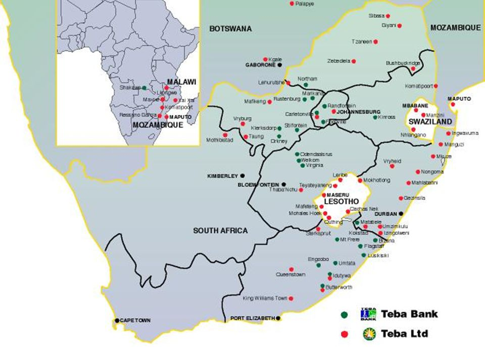 72 outlets on the mines in 5 provinces 10 outlets in rural areas 6 Mining Town Branches 70 Teba agencies in rural areas of Southern Africa 37 Saswitch linked ATMs satellite network allowing real time banking at bank outlets and ATMs Web access for debit order lodging for third parties Infrastructure and Distribution