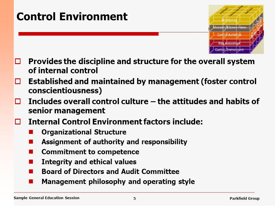 Sample General Education Session 5Parkfield Group Control Environment  Provides the discipline and structure for the overall system of internal control  Established and maintained by management (foster control conscientiousness)  Includes overall control culture – the attitudes and habits of senior management  Internal Control Environment factors include: Organizational Structure Assignment of authority and responsibility Commitment to competence Integrity and ethical values Board of Directors and Audit Committee Management philosophy and operating style