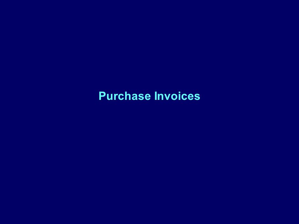 Purchase Invoices