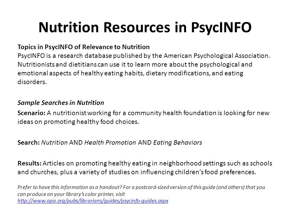 Nutrition Resources in PsycINFO Topics in PsycINFO of Relevance to