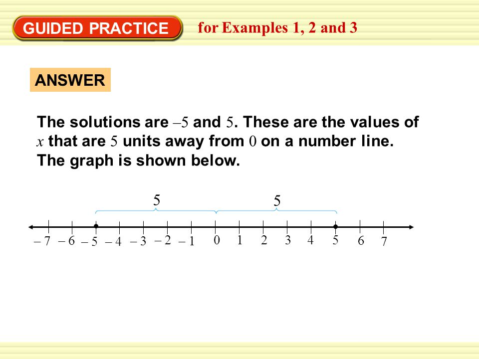 GUIDED PRACTICE for Examples 1, 2 and 3 The solutions are –5 and 5.