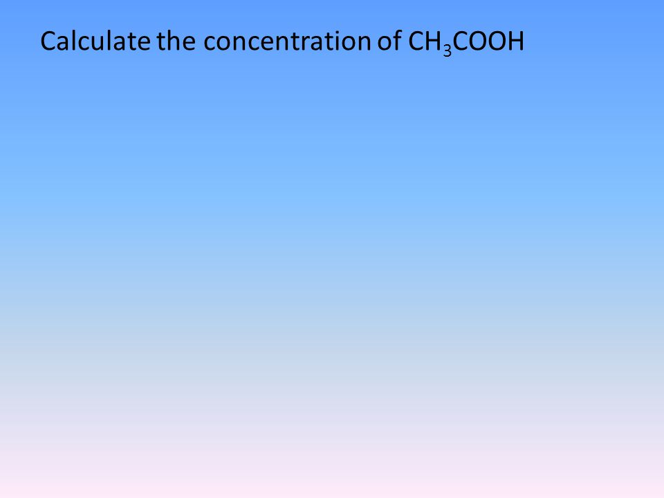 Calculate the concentration of CH 3 COOH