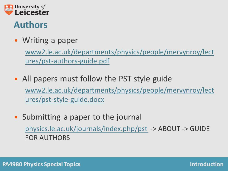 PA4980 Physics Special TopicsIntroduction Journal of Physics Special