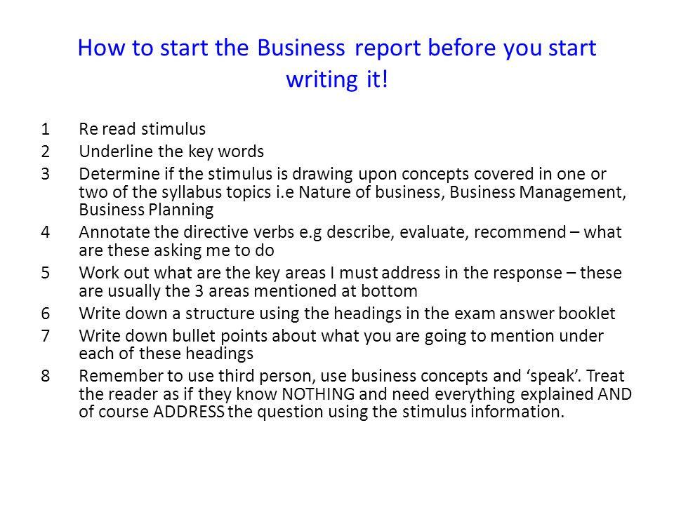 business reports business studies hsc the business report structure
