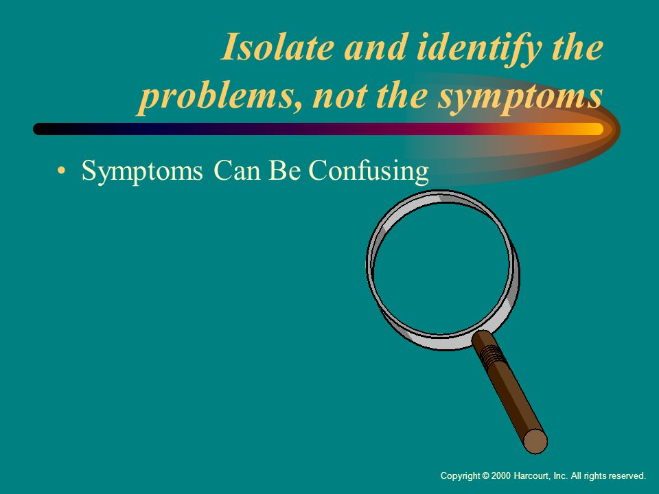 Isolate and identify the problems, not the symptoms Symptoms Can Be Confusing Copyright © 2000 Harcourt, Inc.