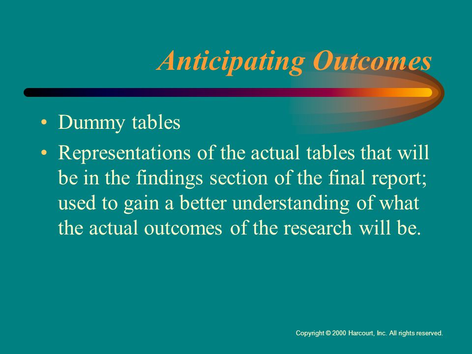 Anticipating Outcomes Dummy tables Representations of the actual tables that will be in the findings section of the final report; used to gain a better understanding of what the actual outcomes of the research will be.