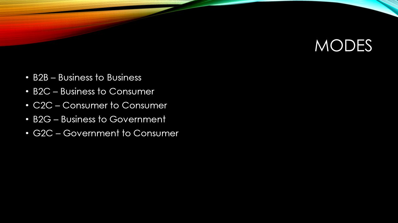 MODES B2B – Business to Business B2C – Business to Consumer C2C – Consumer to Consumer B2G – Business to Government G2C – Government to Consumer
