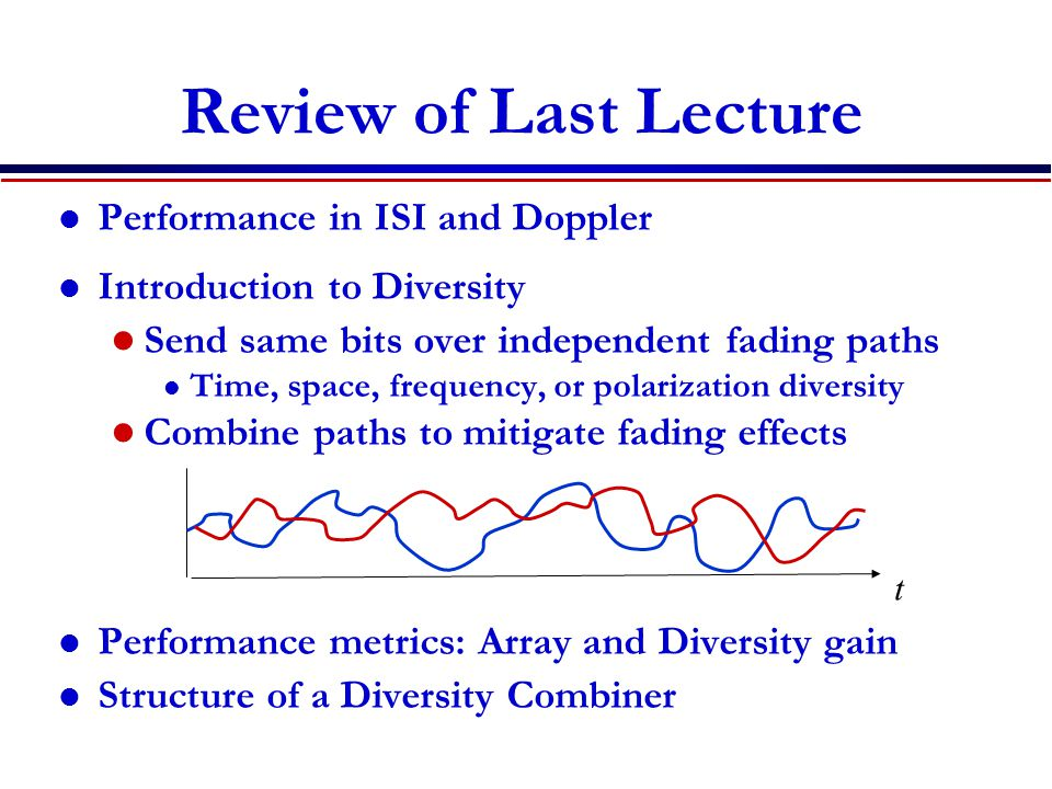 Review of Last Lecture Performance in ISI and Doppler Introduction to Diversity Send same bits over independent fading paths l Time, space, frequency, or polarization diversity Combine paths to mitigate fading effects Performance metrics: Array and Diversity gain Structure of a Diversity Combiner t