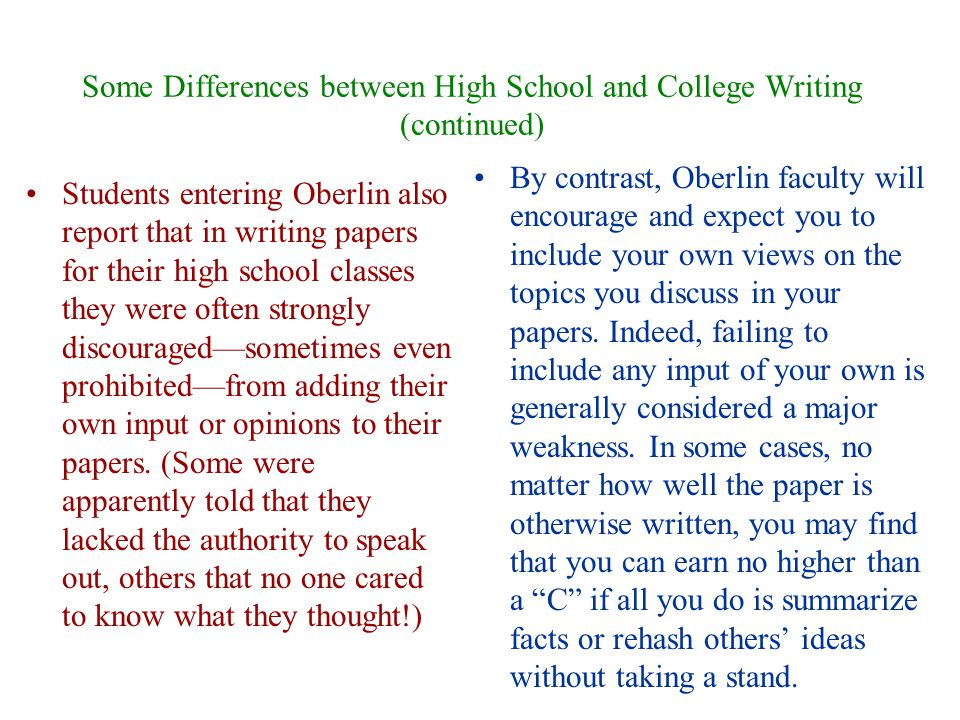 compare and contrast high school vs college outline